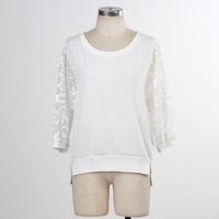 F5S10105 Women Cotton 2016 Spring Plain Dyed O-Neck Long Sleeve T Shirt