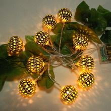 2016 new product custom metal+plastic warm white 10 balls/set string LED fairy lights solar outdoor garden lamps seller