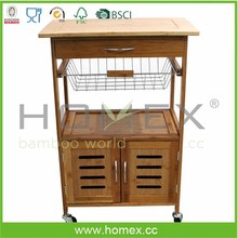 Eco-friendly bamboo kitchen cart/HOMEX-FSC,BSCI