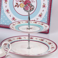 Hot sales flower pattern creative 2 layer ceramic cake serve plate with cake stand display holder