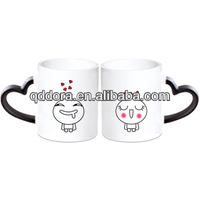 cute couple ceramic cup   plain ceramic mug with heart handle