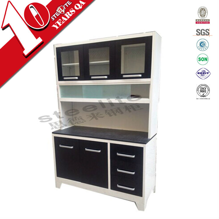 High gloss cheap steel and glass kitchen cabinet ghana for Cheap metal kitchen cabinets