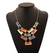 Hot selling costume resin statement gold plated jewelry necklace for women