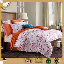 Chinese red plum blossom printed home textile bedding set for adult