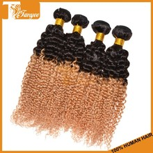 Luxury lady jerry curly hair weft virgin indian 1b 27 two tone color remy human hair