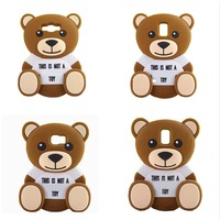 New 3D Cute cartoon animal Toy brown teedy bear soft silicone case For Samsung galaxy s3/s4/s5/s6/s6edge/Note3/Note4/E5/E7/A5/A7