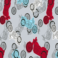 Cotton Brushed Motorcycle Printed Flannel Fabric
