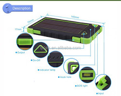 Water/ Shock/ Dust Resistant Solar Power Bank Charger for iPhone