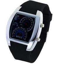 Newest 10 colors LED Speedometer Light Aviation Pilot Binary Digital Wrist Watch