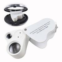 New 30x 60x Dual Lens Jewelers Eye Loupe Illuminated 2 LED Light Glass Magnifier 9889 of type folding mirror jewelry