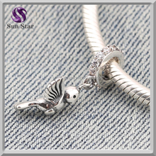Unique design sterling 925 silver oxidized happy lucky bird dangle charm fit European bracelets