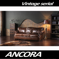 Button Tufted Upholstered Leather Sofa Set/Retro Vintage Style Genuine Leather Chesterfield Sofa A119