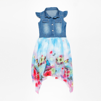 Short Sleeve Flower Kids Dress Chiffon Girls Jeans Dress