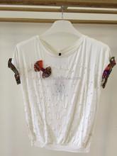 Fancy t shirt design hand beaded bat sleeve mercerize cotton girls top