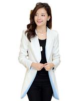 New 2015 Jackets Women Suit Foldable Long Sleeve Lapel Coat Striped Single Button Women Coat