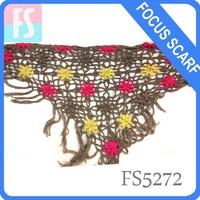 flamenco knit crochet triangle shawl