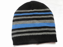 Striped tricot knitted winter beanie hats for kids