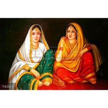Handpainted indian women painting oils on canvas