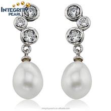 8-9mm AAA grade 925 silver zircon diamond fashion pearl earring jewelry