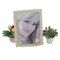 Gold Pearl rhinestone alloy chic photo frame designs 7 inch 2015 new picture frame for daily decoration