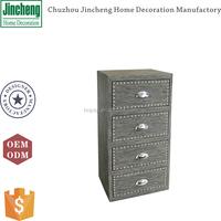 Vintage gray PVCtextilene antique chest of 4 drawers, bedroom chest of drawers, chest of drawers design