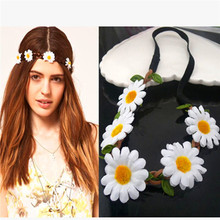 Fashion colorful flower headband/elastic headband/daisy flower crown headband