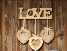 Antique Style Hanging Picture Frame Wooden Love Photo Frame Three Heart Shaped Love Picture Frames