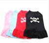 Pink/Blue/Black/Red Dog tutu Shirt Dress bone patterns design ,pet Clothes
