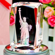 The Statue of Liberty 3d laser engraved crystal cube with LED base for travel souvenir