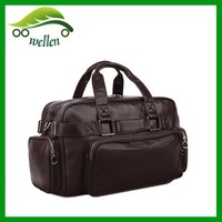 Travel pure black leather duffel bags