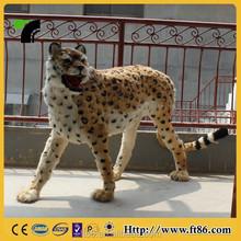 Realistic furry animal life size big leopard model