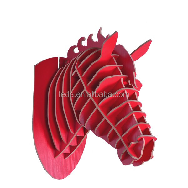 wholesale DIY wood carving craft decoration reindeer of Horse Head Home Decoration