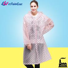 transparent fashion jacket women raincoat in full dot printing