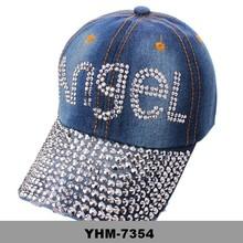 Rhinestone Crystal ANGEL Blue Jean Ladies Sparkle Bling Baseball Hat Cap