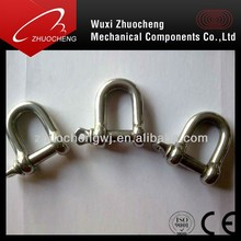 stainless steel d shaped shackle with snag pin