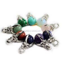 Healing Point Crystal Quartz Agate Gemstone Beads Silver Plant Wrapped Ball Pendant