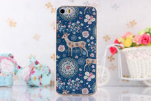 Christmas deer blue phone cover Waterproof TPU soft for iphone 5 5S slim 3d Sublimation