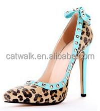 European elegant lady dress shoes factory price pointed toe high heel pumps stylish designer pumps stud heels