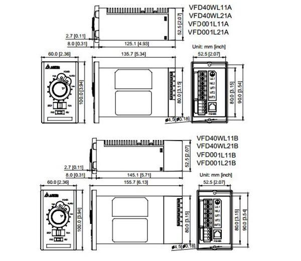 VFD001L21A DELTA VFD-L VFD Inverter Frequency converter