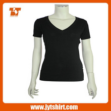 2014 High quality v-neck plain t-shirts for women