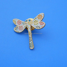 Colorful dragonfly shape metal badge with buttfly clutch