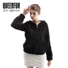 2015 New Genuine Knit Mink Fur Coats With Hood Natural Mink Fur Jacket Winter Warm Fur Overwear
