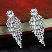 New Arrival ! SJ Unique Design SJbeme-ez0040a Precious Cubic Zirconia White Gold Plated 925 Sterling Silver Wedding Earrings