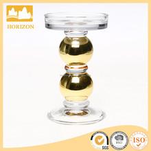 Decorative gold glass pillar candle holder