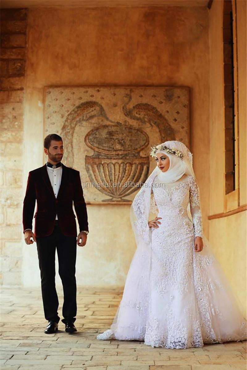 Vestidos De Noiva Saudi Arabia Muslim Wedding Dresses Long Sleeve ...