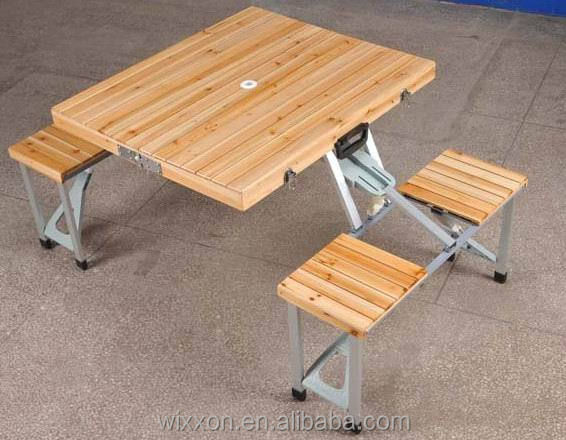 Pliante en bois table de pique nique ensemble et banc ensemble table pliante id de produit - Table de picnic pliante valise ...