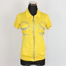 Wholesale Custom Women Polo T-shirt Latest Fashion Beaded flower Front Bind Pocket Zipper Opening LQ41WC03079 T-shirt