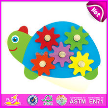 2015 New kids toy wooden gears, popualr cute children toy wooden gears,lovely baby tortoise style toy wooden gears W13E039