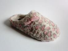 2015 sexy pinky leopard plush ladies indoot slipper girls fancy flat slipper shoes