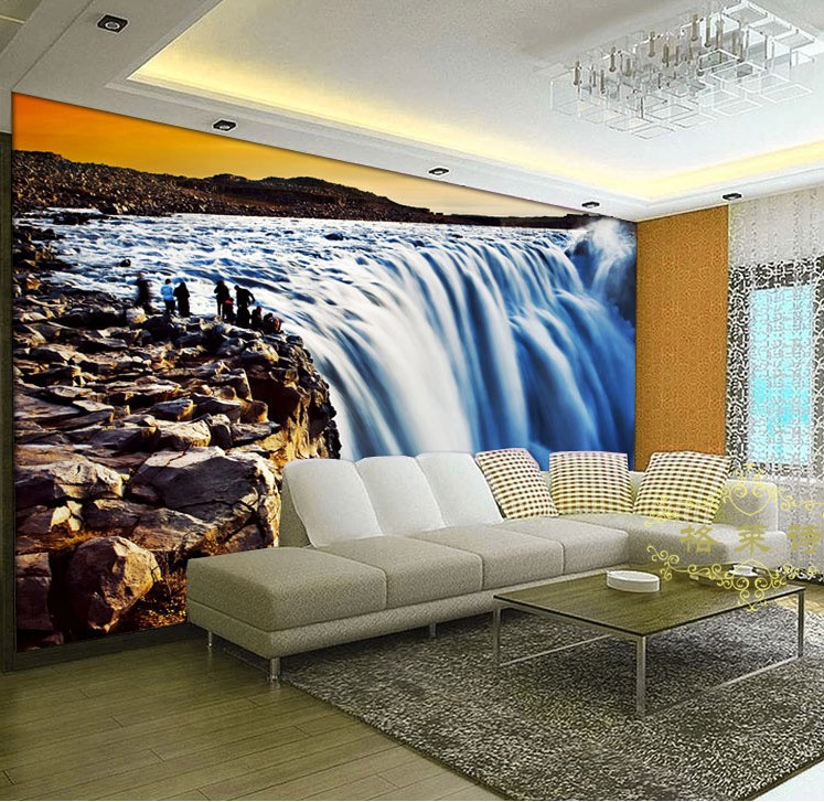 3d wallpaper mural waterfall view wall paper restaurant for Custom size wall mural